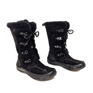 North Face Black Sheepskin Lace Up Winter Boots